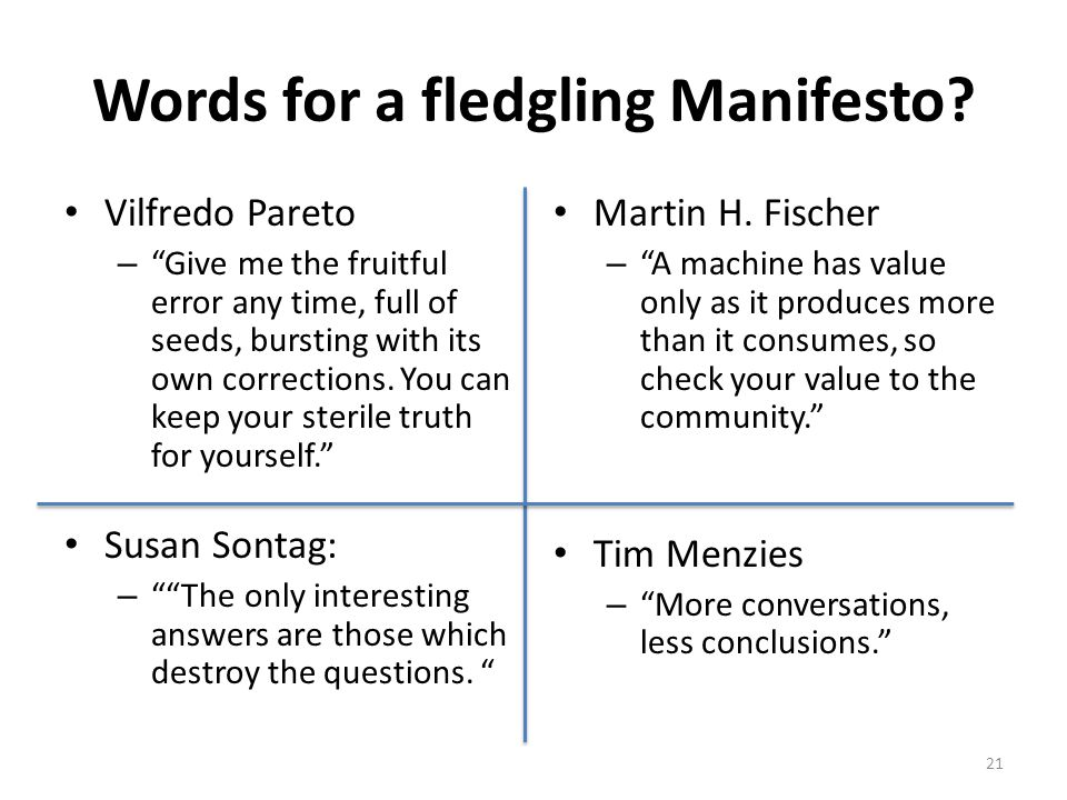 Words for a fledgling Manifesto.