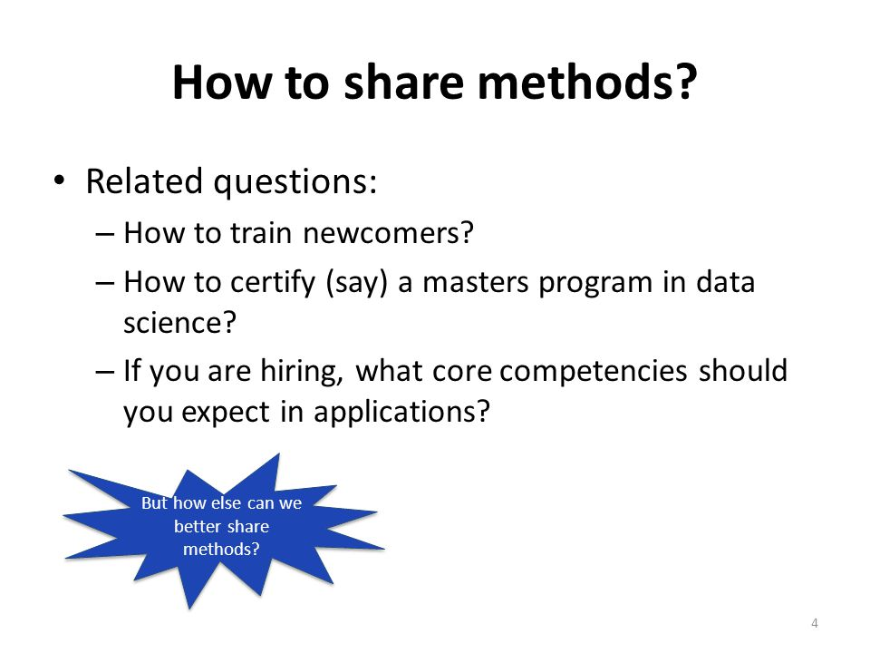 How to share methods. Related questions: – How to train newcomers.