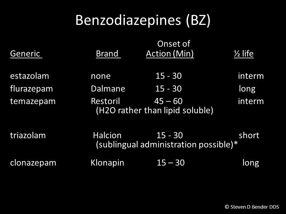 © Steven D Bender DDS Benzodiazepines (BZ) Onset of Generic Brand Action (Min) ½ life estazolam none 15 - 30 interm flurazepam Dalmane 15 - 30long temazepam Restoril 45 – 60 interm (H2O rather than lipid soluble) triazolam Halcion 15 - 30short (sublingual administration possible)* clonazepam Klonapin 15 – 30 long Sleep Academic Award 12