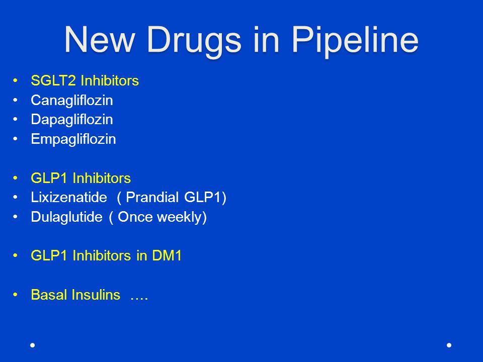 New Drugs in Pipeline SGLT2 Inhibitors Canagliflozin Dapagliflozin Empagliflozin GLP1 Inhibitors Lixizenatide ( Prandial GLP1) Dulaglutide ( Once week