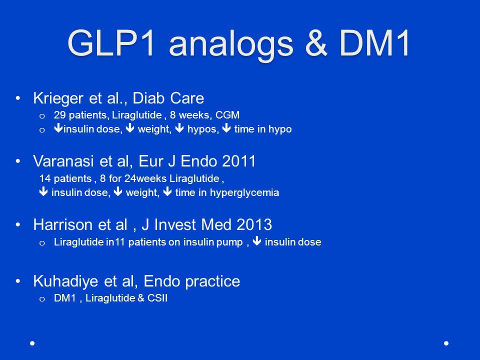 GLP1 analogs & DM1 Krieger et al., Diab Care o 29 patients, Liraglutide, 8 weeks, CGM o  insulin dose,  weight,  hypos,  time in hypo Varanasi et