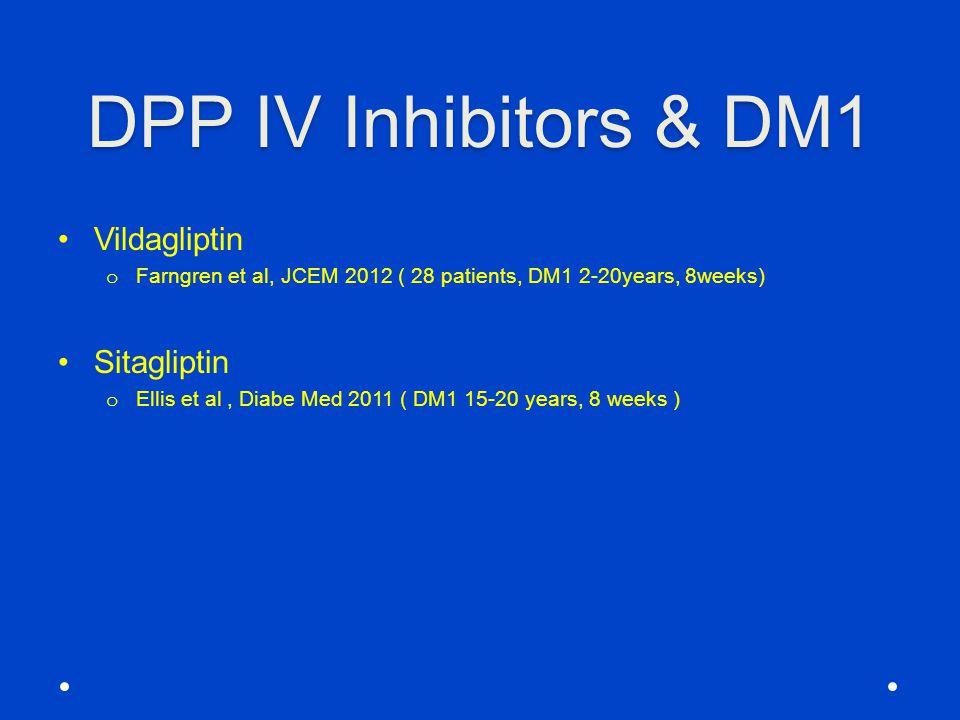 DPP IV Inhibitors & DM1 Vildagliptin o Farngren et al, JCEM 2012 ( 28 patients, DM1 2-20years, 8weeks) Sitagliptin o Ellis et al, Diabe Med 2011 ( DM1