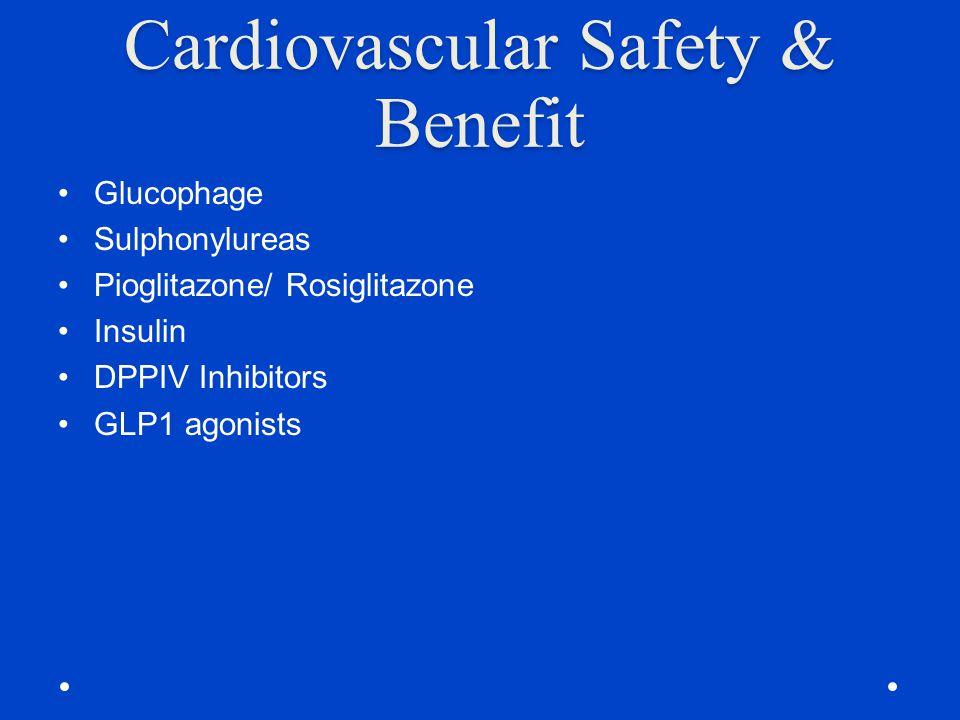 Cardiovascular Safety & Benefit Glucophage Sulphonylureas Pioglitazone/ Rosiglitazone Insulin DPPIV Inhibitors GLP1 agonists