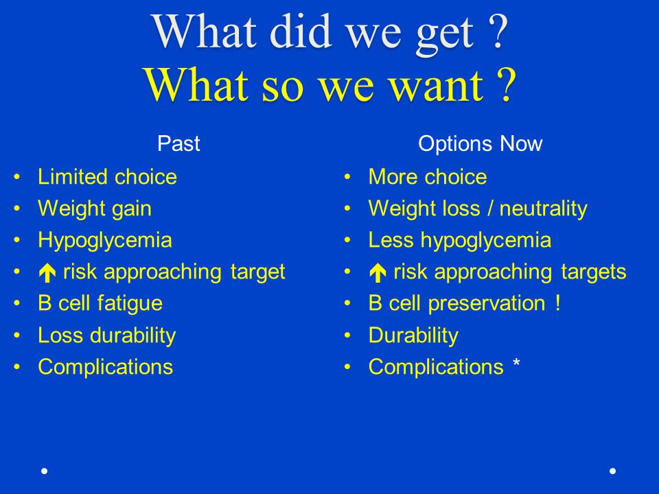 What did we get ? What so we want ? Past Options Now Limited choice Weight gain Hypoglycemia  risk approaching target Β cell fatigue Loss durability