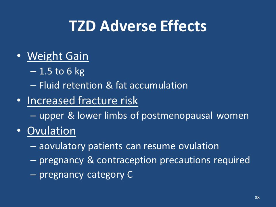 TZDs Average HbA1c reduction ~1.5% FBG reduction: 60 to 70 mg/dL at max doses Maximal glycemic-lowering effects after 3 to 4 months Triglycerides: – pioglitazone: 10 to 20% decrease – rosiglitazone: neutral effect LDL: – pioglitazone: no significant increase – rosiglitazone: 5 to 15% increase HDL: both increase 3 to 9 mg/dL 39