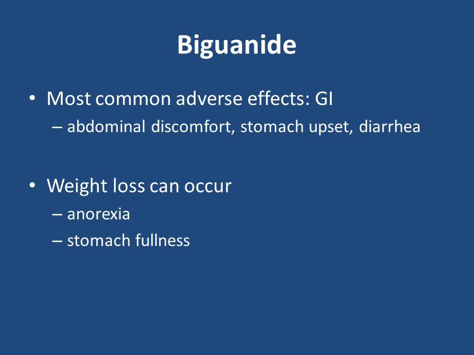 Biguanide Contraindications High risk patients for lactic acidosis – CHF, hypoxic states, shock, septicemia, severe liver disease, alcohol use Renal insufficiency – SCr ≥ 1.4 mg/dL in women – SCr ≥ 1.5 mg/dL in men Intravenous dye procedures – risk of acute renal failure – withhold the day of procedure – may restart 2 to 3 days post-procedure