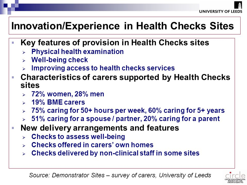 Innovation/Experience in Health Checks Sites  Key features of provision in Health Checks sites  Physical health examination  Well-being check  Improving access to health checks services  Characteristics of carers supported by Health Checks sites  72% women, 28% men  19% BME carers  75% caring for 50+ hours per week, 60% caring for 5+ years  51% caring for a spouse / partner, 20% caring for a parent  New delivery arrangements and features  Checks to assess well-being  Checks offered in carers' own homes  Checks delivered by non-clinical staff in some sites Source: Demonstrator Sites – survey of carers, University of Leeds