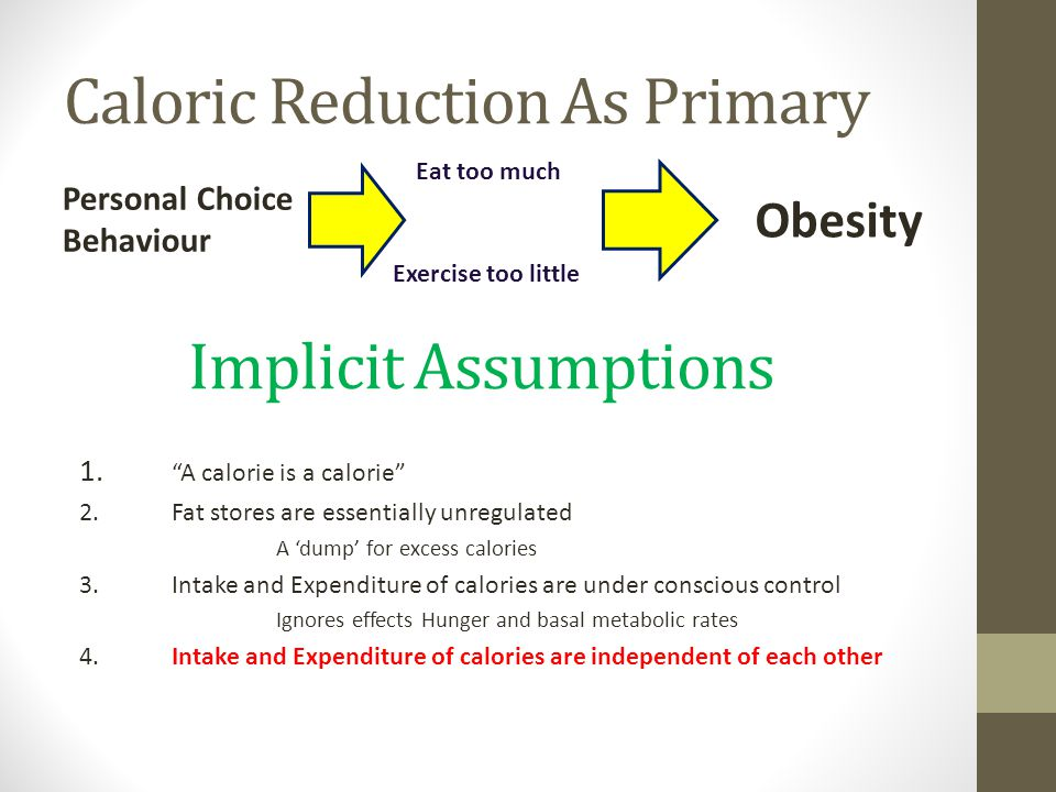 "Caloric Reduction As Primary Personal Choice Behaviour Obesity Eat too much Exercise too little 1. ""A calorie is a calorie"" 2.Fat stores are essential"