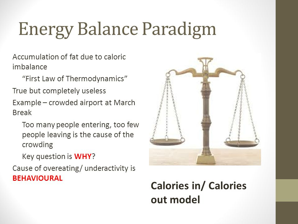 "Energy Balance Paradigm Accumulation of fat due to caloric imbalance ""First Law of Thermodynamics"" True but completely useless Example – crowded airpo"