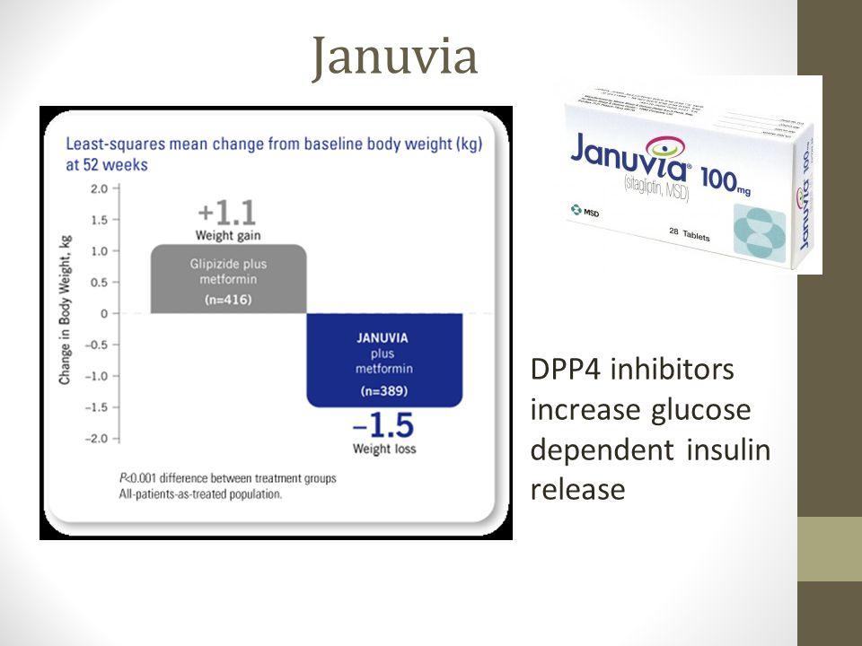 Januvia DPP4 inhibitors increase glucose dependent insulin release