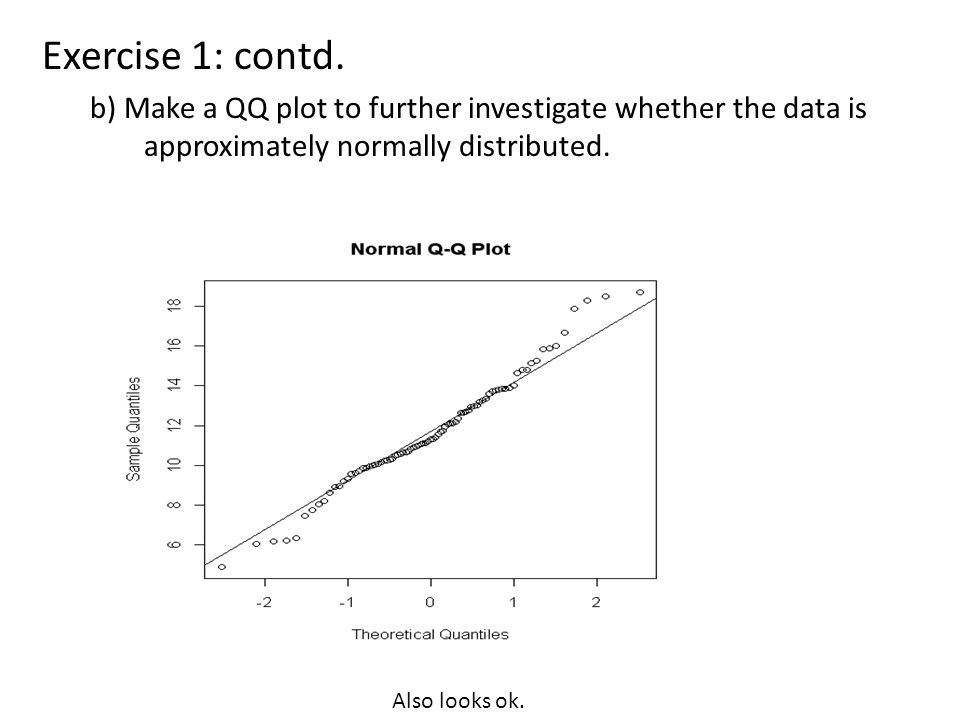 Exercise 1: contd. b) Make a QQ plot to further investigate whether the data is approximately normally distributed. Also looks ok.