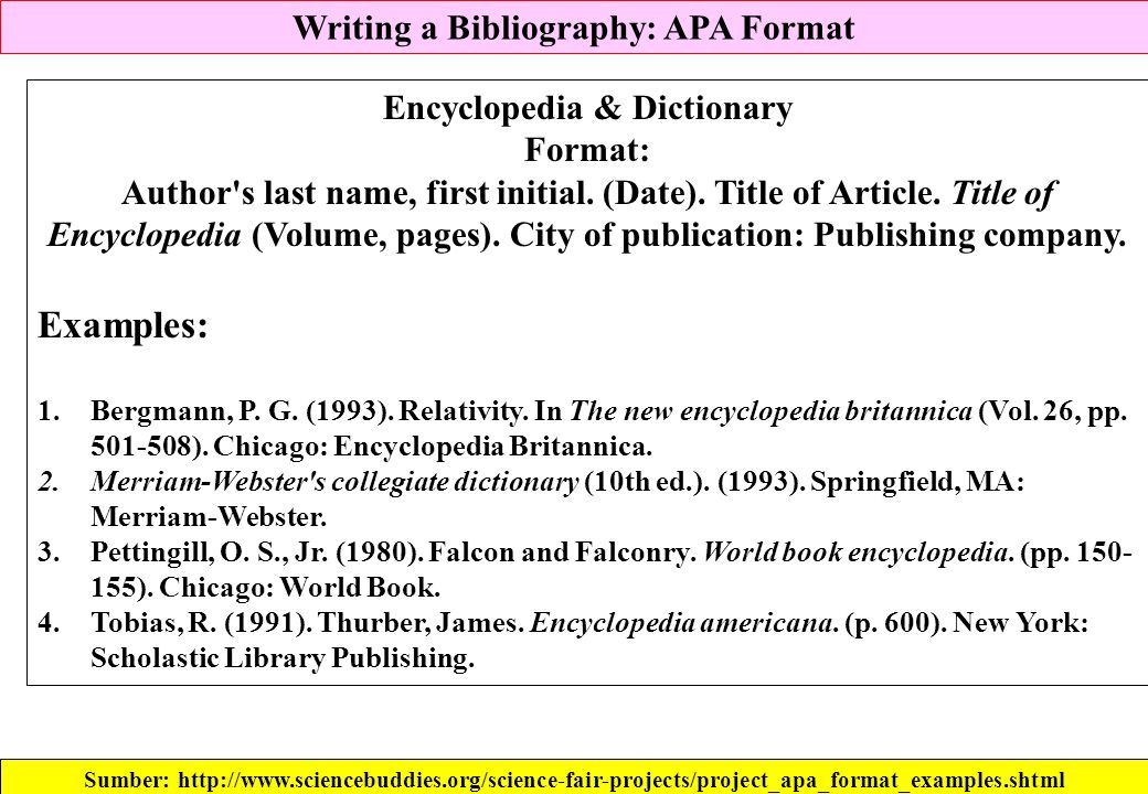 Writing a Bibliography: APA Format Sumber: http://www.sciencebuddies.org/science-fair-projects/project_apa_format_examples.shtml Encyclopedia & Dictio
