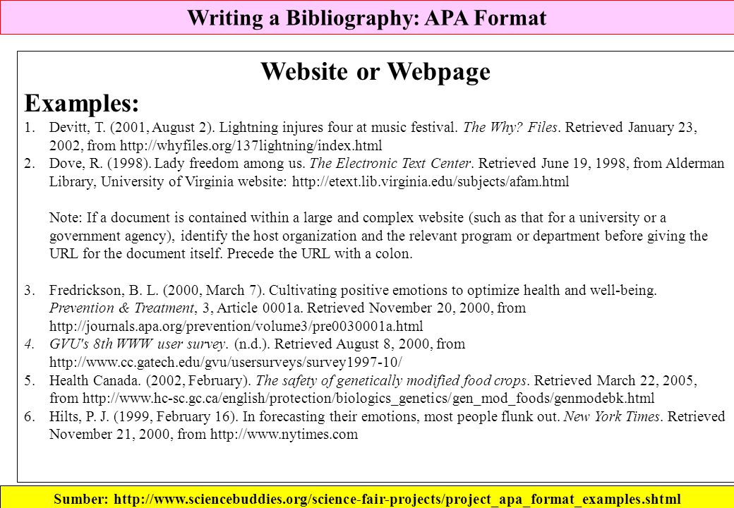 Writing a Bibliography: APA Format Sumber: http://www.sciencebuddies.org/science-fair-projects/project_apa_format_examples.shtml Website or Webpage Ex