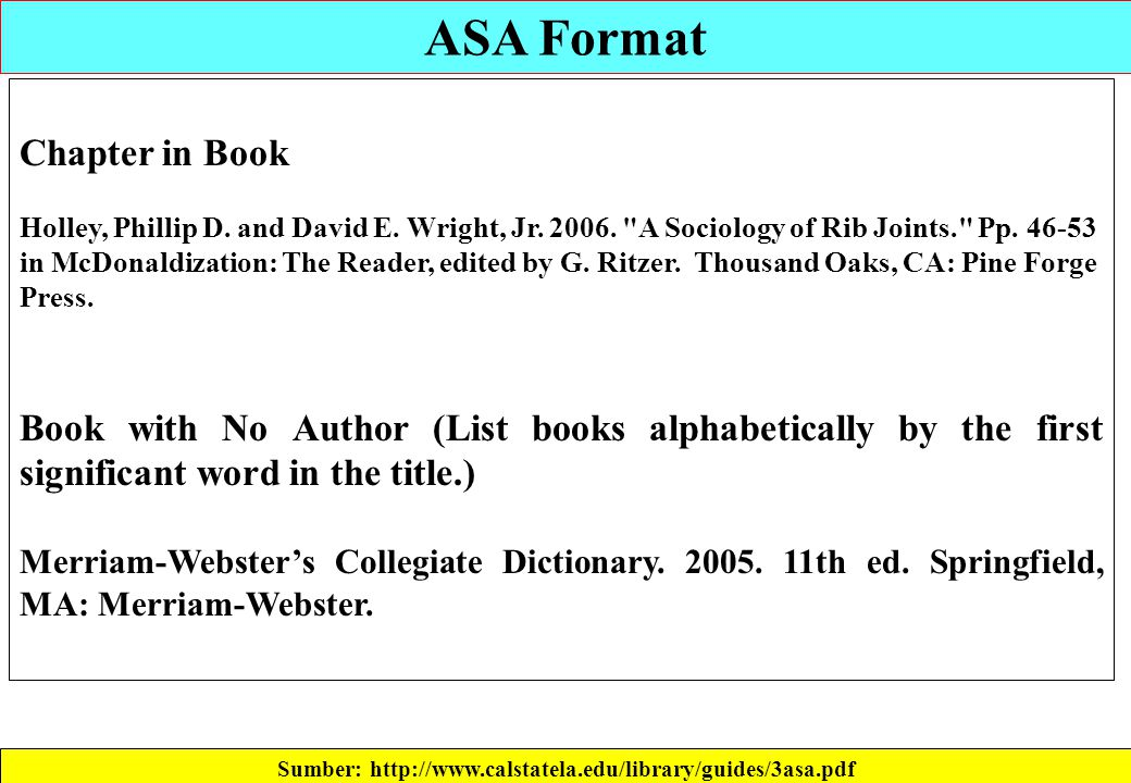 ASA Format Sumber: http://www.calstatela.edu/library/guides/3asa.pdf Chapter in Book Holley, Phillip D. and David E. Wright, Jr. 2006.