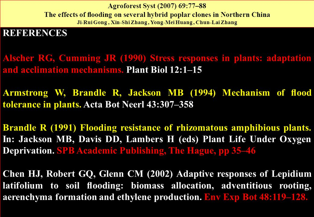 REFERENCES Alscher RG, Cumming JR (1990) Stress responses in plants: adaptation and acclimation mechanisms. Plant Biol 12:1–15 Armstrong W, Brandle R,