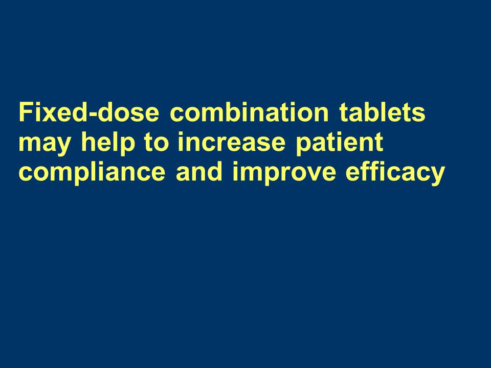 Fixed-dose combination tablets may help to increase patient compliance and improve efficacy