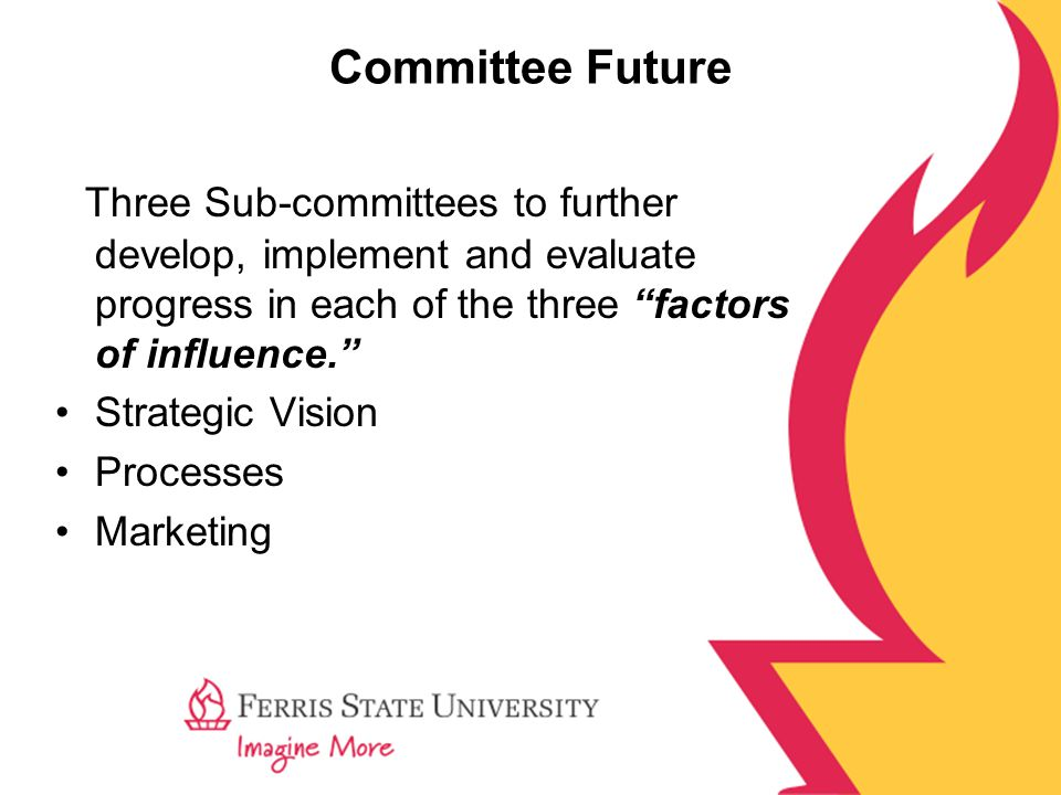 Committee Future Three Sub-committees to further develop, implement and evaluate progress in each of the three factors of influence. Strategic Vision Processes Marketing