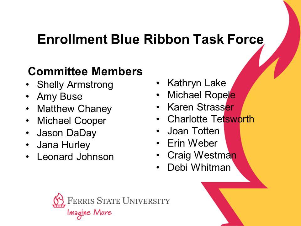Enrollment Blue Ribbon Task Force Committee Members Shelly Armstrong Amy Buse Matthew Chaney Michael Cooper Jason DaDay Jana Hurley Leonard Johnson Ka