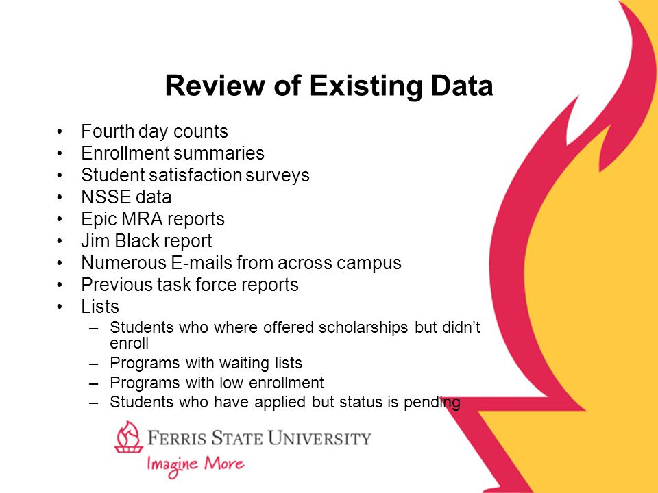 Review of Existing Data Fourth day counts Enrollment summaries Student satisfaction surveys NSSE data Epic MRA reports Jim Black report Numerous E-mails from across campus Previous task force reports Lists –Students who where offered scholarships but didn't enroll –Programs with waiting lists –Programs with low enrollment –Students who have applied but status is pending