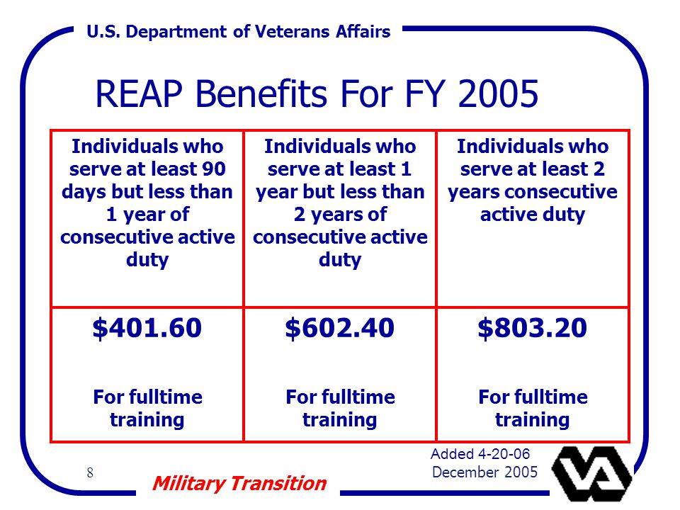 U.S. Department of Veterans Affairs 8 December 2005 Military Transition REAP Benefits For FY 2005 Individuals who serve at least 90 days but less than