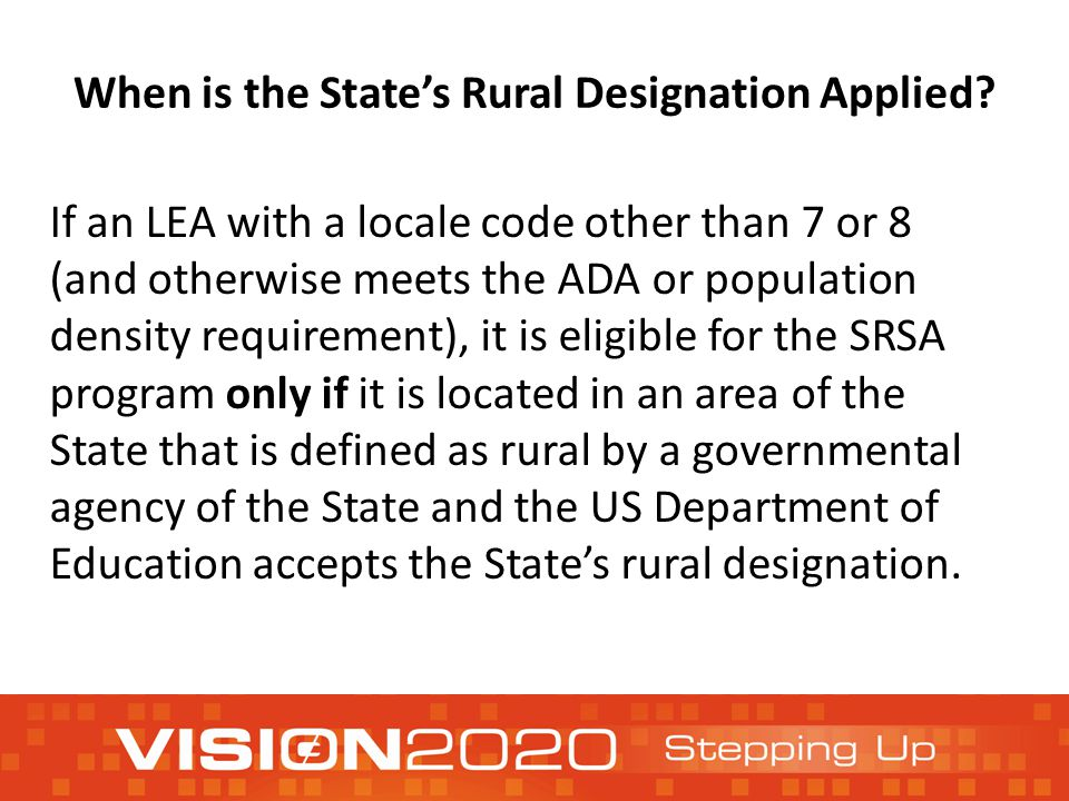 When is the State's Rural Designation Applied.