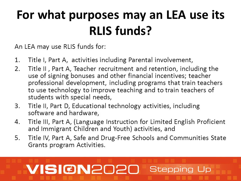 For what purposes may an LEA use its RLIS funds.