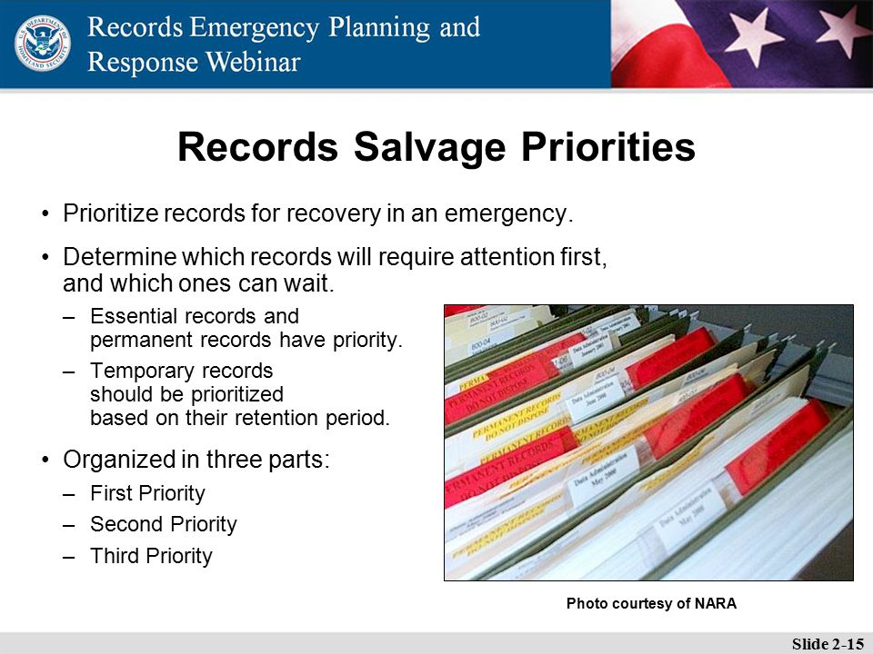 Records Salvage Priorities Prioritize records for recovery in an emergency.