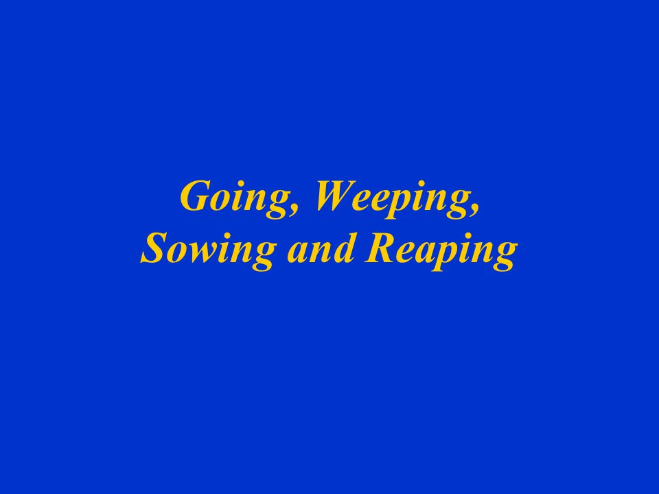 Going, Weeping, Sowing and Reaping