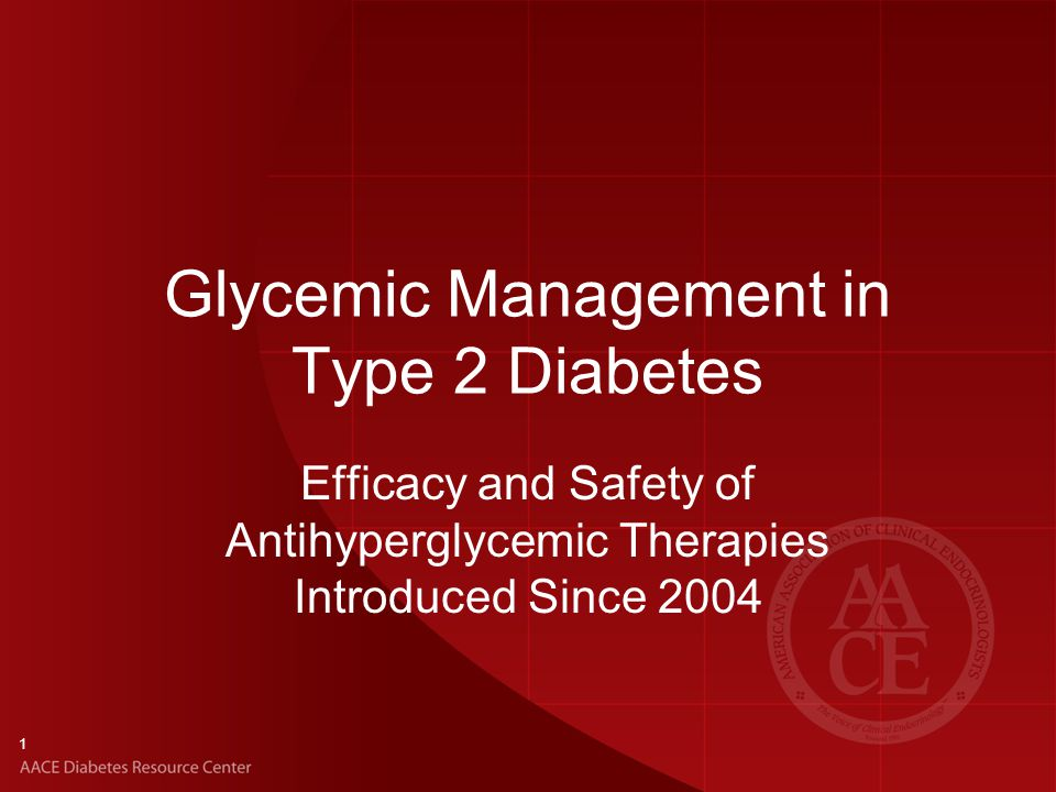Glycemic Management in Type 2 Diabetes Efficacy and Safety of Antihyperglycemic Therapies Introduced Since 2004 1