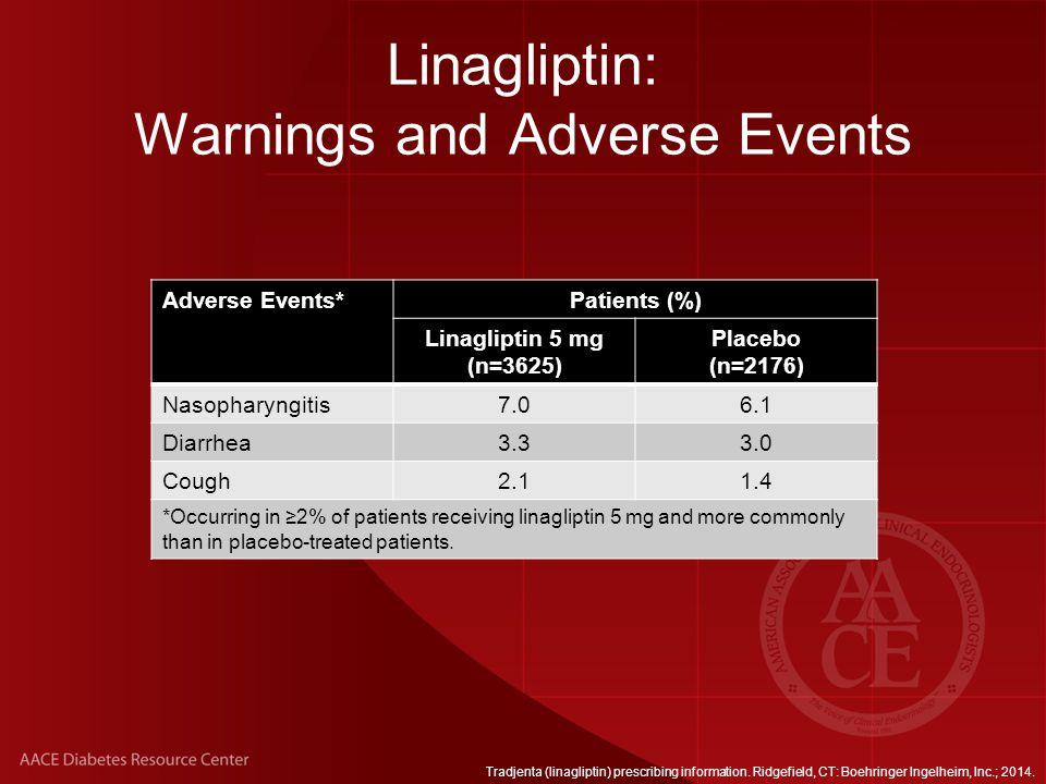 Linagliptin: Warnings and Adverse Events Tradjenta (linagliptin) prescribing information.