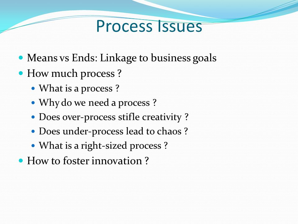 Process Issues Means vs Ends: Linkage to business goals How much process ? What is a process ? Why do we need a process ? Does over-process stifle cre