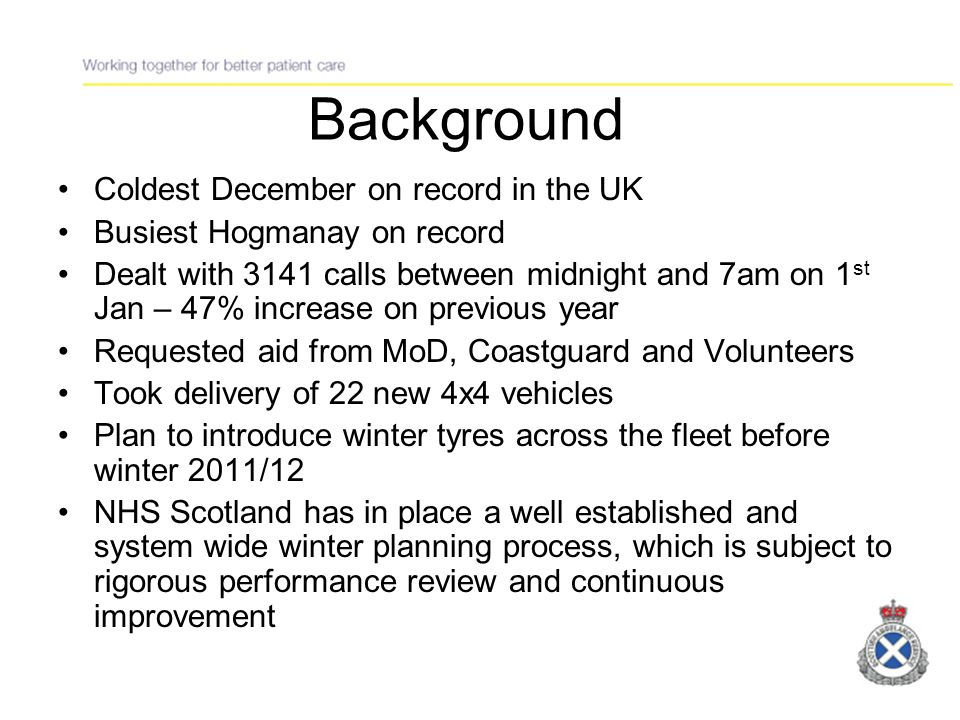 Planning Process Processes in place before Winter 2010/11 Action tracker from 2009/10 Modification to Resource Escalatory Action Plan (REAP) Regular Conference Calls to monitor progress Set up of National Command & Coordinating Centre (NCCC)