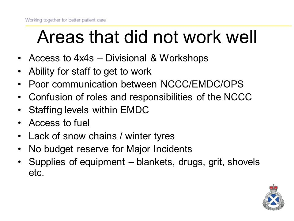 Areas that worked well Staff professionalism Support of external agencies e.g.