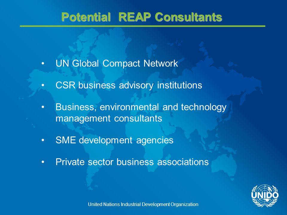 United Nations Industrial Development Organization Potential REAP Consultants UN Global Compact Network CSR business advisory institutions Business, environmental and technology management consultants SME development agencies Private sector business associations