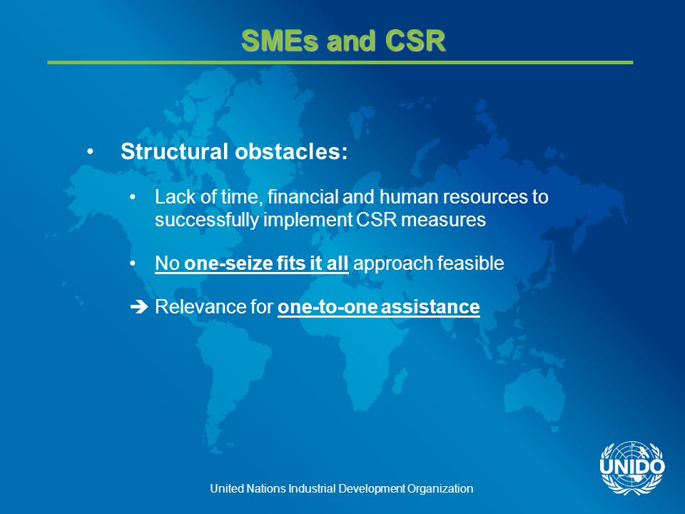 United Nations Industrial Development Organization Challenge: Reaching out to SMEs Limited Outreach: SME SME SME SME SME SME SME SME SME SME SME SME
