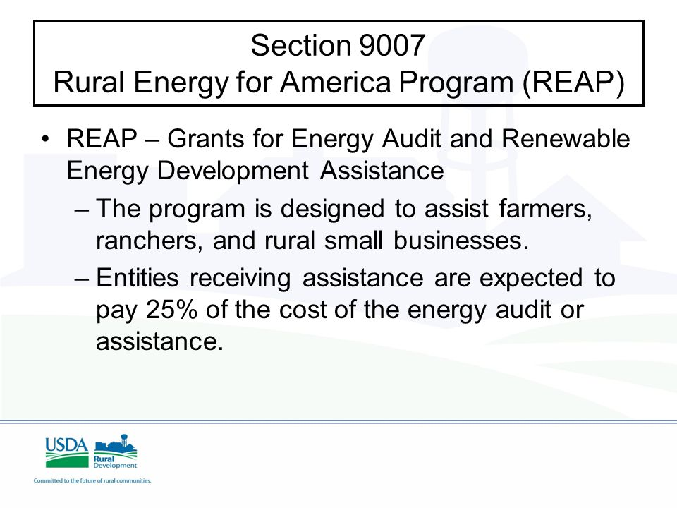 Section 9007 Rural Energy for America Program (REAP) REAP – Grants for Energy Audit and Renewable Energy Development Assistance – –The program is designed to assist farmers, ranchers, and rural small businesses.