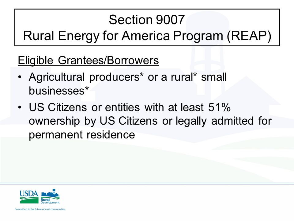 Eligible Grantees/Borrowers Agricultural producers* or a rural* small businesses* US Citizens or entities with at least 51% ownership by US Citizens or legally admitted for permanent residence Section 9007 Rural Energy for America Program (REAP)