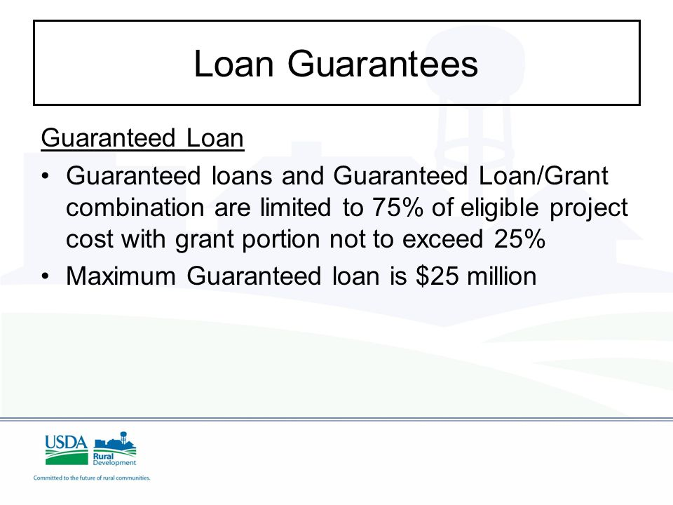 Loan Guarantees Guaranteed Loan Guaranteed loans and Guaranteed Loan/Grant combination are limited to 75% of eligible project cost with grant portion not to exceed 25% Maximum Guaranteed loan is $25 million