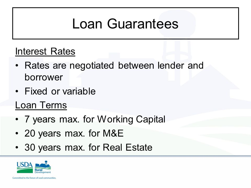 Loan Guarantees Interest Rates Rates are negotiated between lender and borrower Fixed or variable Loan Terms 7 years max.