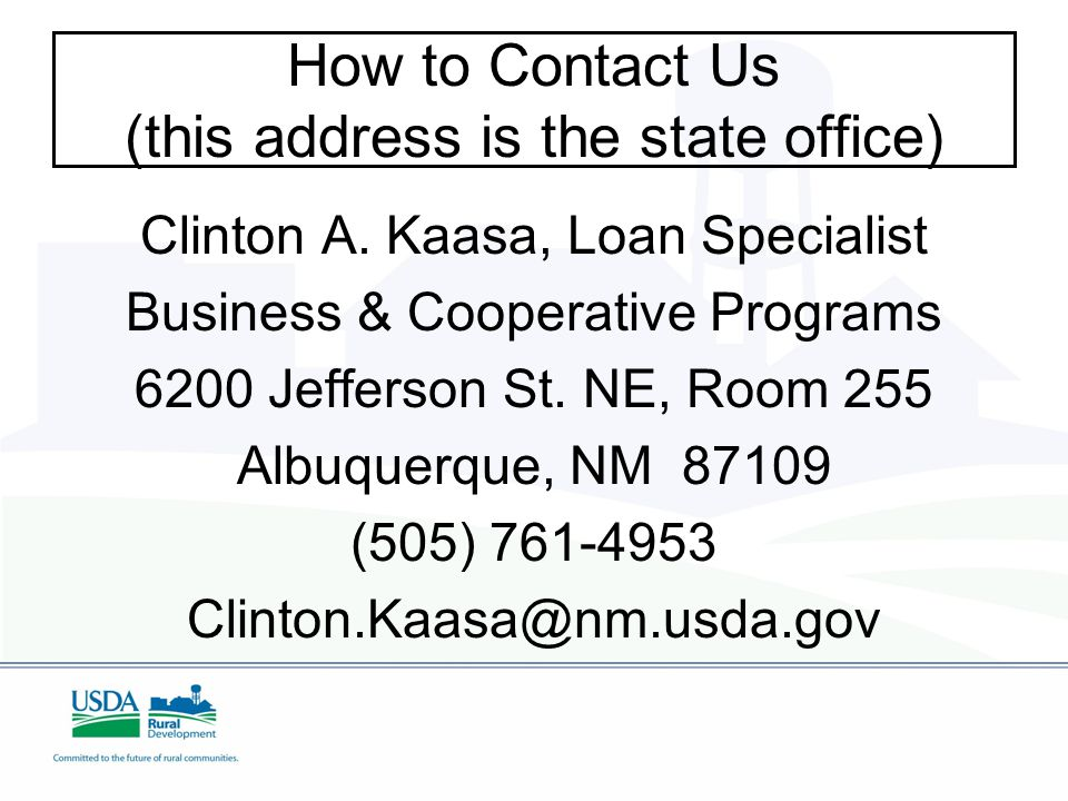 How to Contact Us (this address is the state office) Clinton A.