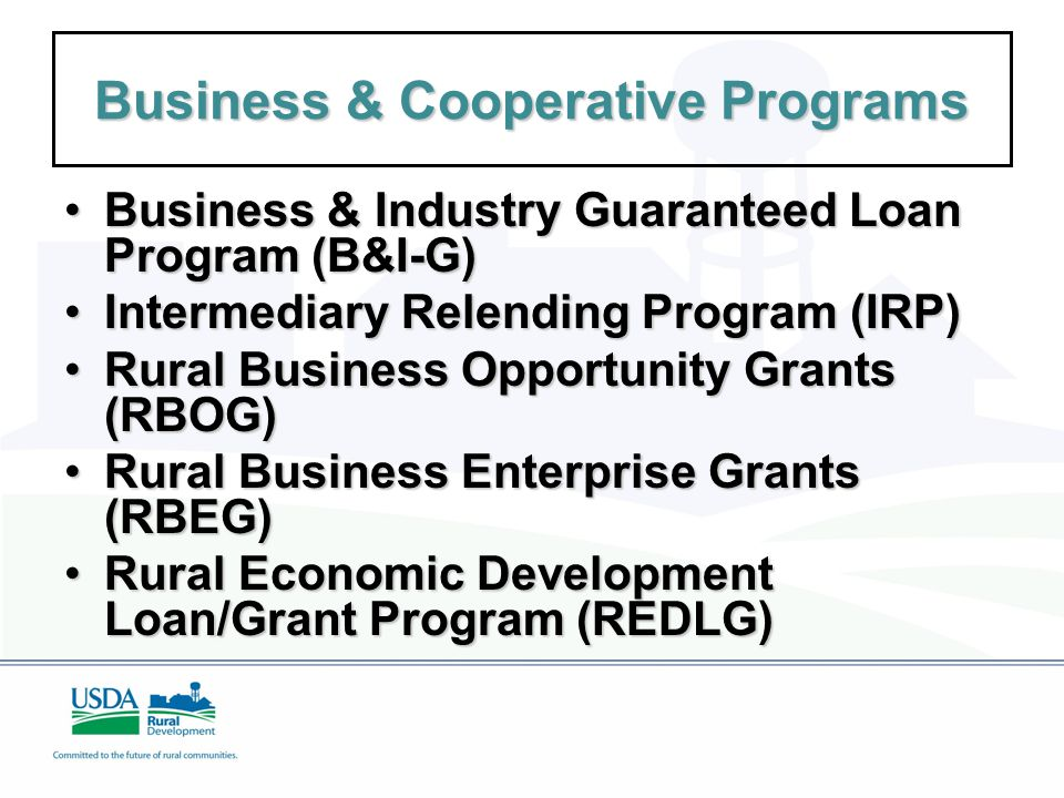 Business & Cooperative Programs Business & Industry Guaranteed Loan Program (B&I-G)Business & Industry Guaranteed Loan Program (B&I-G) Intermediary Relending Program (IRP)Intermediary Relending Program (IRP) Rural Business Opportunity Grants (RBOG)Rural Business Opportunity Grants (RBOG) Rural Business Enterprise Grants (RBEG)Rural Business Enterprise Grants (RBEG) Rural Economic Development Loan/Grant Program (REDLG)Rural Economic Development Loan/Grant Program (REDLG)