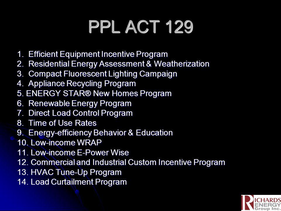 PPL ACT 129 1. Efficient Equipment Incentive Program 2.