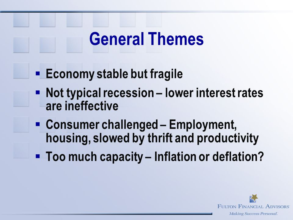 General Themes  Economy stable but fragile  Not typical recession – lower interest rates are ineffective  Consumer challenged – Employment, housing, slowed by thrift and productivity  Too much capacity – Inflation or deflation