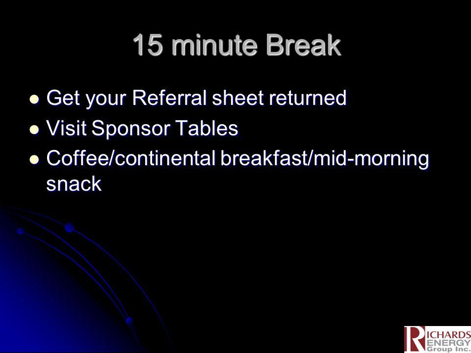 15 minute Break Get your Referral sheet returned Get your Referral sheet returned Visit Sponsor Tables Visit Sponsor Tables Coffee/continental breakfast/mid-morning snack Coffee/continental breakfast/mid-morning snack