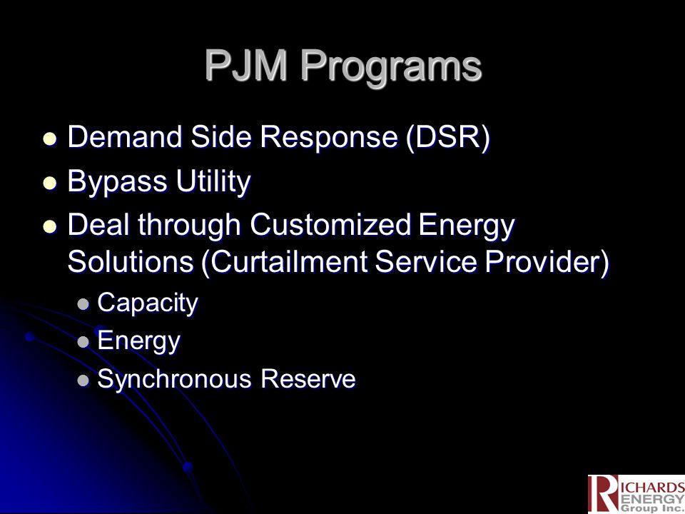 PJM Programs Demand Side Response (DSR) Demand Side Response (DSR) Bypass Utility Bypass Utility Deal through Customized Energy Solutions (Curtailment Service Provider) Deal through Customized Energy Solutions (Curtailment Service Provider) Capacity Capacity Energy Energy Synchronous Reserve Synchronous Reserve