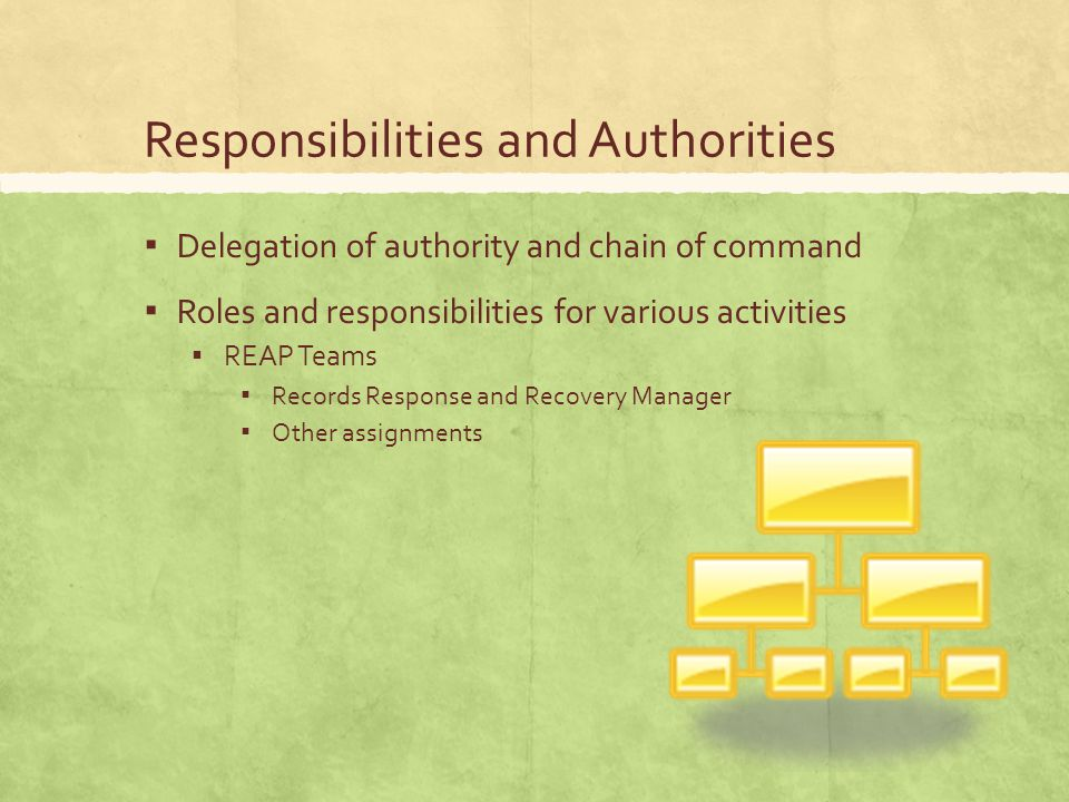 Responsibilities and Authorities ▪ Delegation of authority and chain of command ▪ Roles and responsibilities for various activities ▪ REAP Teams ▪ Records Response and Recovery Manager ▪ Other assignments