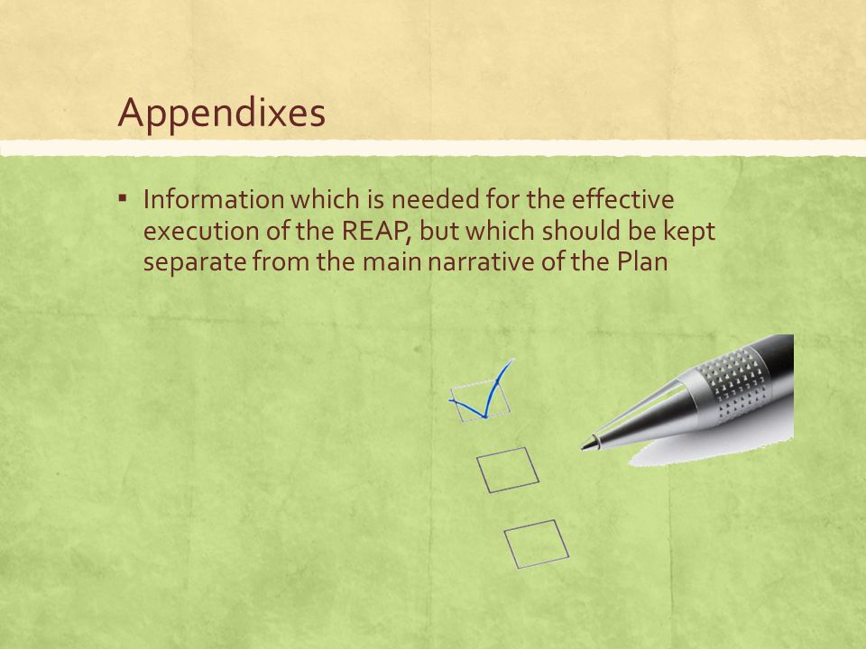 Appendixes ▪ Information which is needed for the effective execution of the REAP, but which should be kept separate from the main narrative of the Plan