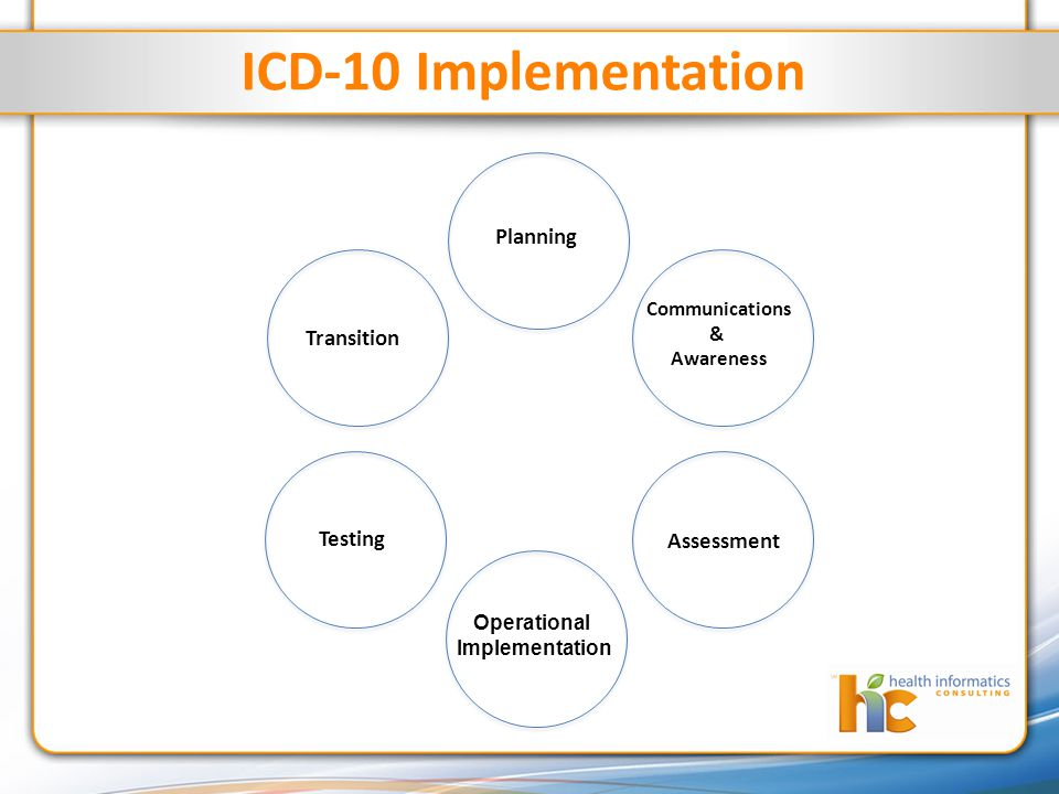 ICD-10 Implementation Planning Communications & Awareness Transition Operational Implementation Testing Assessment