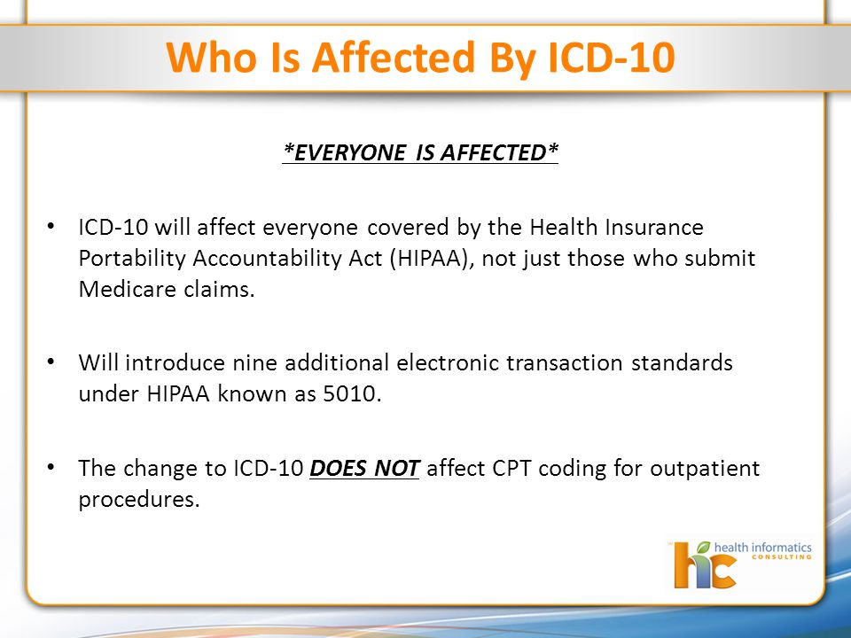 Who Is Affected By ICD-10 *EVERYONE IS AFFECTED* ICD-10 will affect everyone covered by the Health Insurance Portability Accountability Act (HIPAA), not just those who submit Medicare claims.