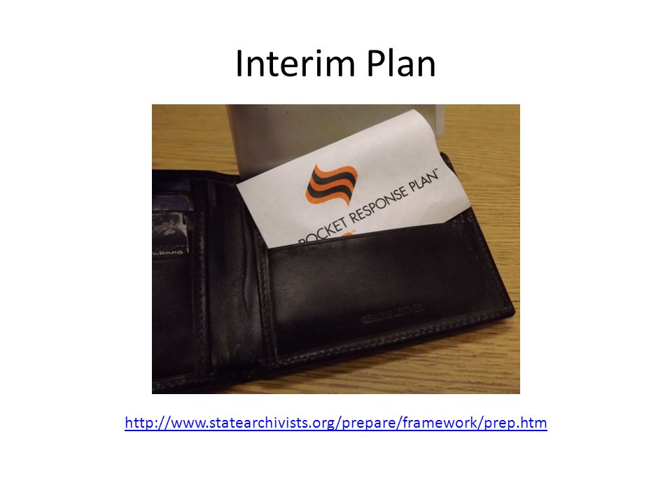 Interim Plan http://www.statearchivists.org/prepare/framework/prep.htm